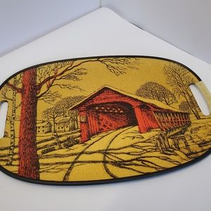 vintage Ensenco covered bridge tray w/ handles